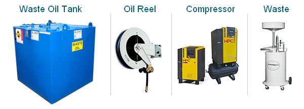 Images of Garagre Equipment include - Waste Oil tank, Oil Reel, Waste and Air Compressor